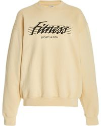 Sporty & Rich 80s Fitness Cotton Sweatshirt - Natural