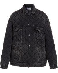 Balenciaga Distressed Quilted Japanese Denim Jacket - Black