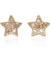 She Bee - 14k Gold Diamond Star Stud Earrings - Lyst