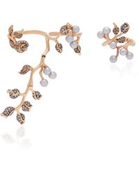 Colette - Set-of-two 18k Rose Gold, Pearl And Diamond Rings - Lyst