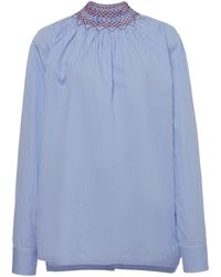 Prada Embroidered Smocked Cotton-poplin Shirt - Blue