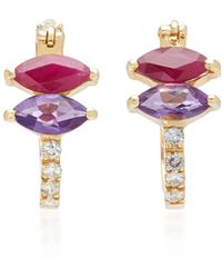 Carolina Neves 18k White Gold, Amethyst, Ruby And Diamond Earrings - Purple