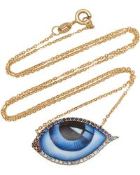 Lito 14k Gold Large Blue Diamond And Sapphire Enamel Eye Necklace
