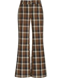 Ciao Lucia Balthazar Plaid Twill Flared Pants - Brown