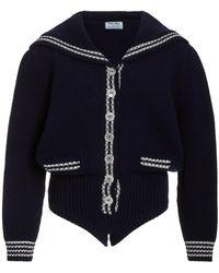 Miu Miu Wool Knit Bodysuit - Blue