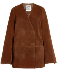 Totême Double-breasted Suede Blazer - Brown