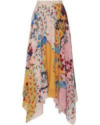 Saloni - Freja Asymmetric Floral-print Silk Crepe De Chine Midi Skirt - Lyst