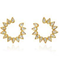 Amrapali Kundan 18k Gold And Diamond Earrings - Metallic