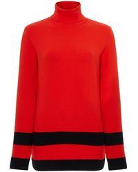 Fusalp Striped Knit Turtleneck Sweater - Red