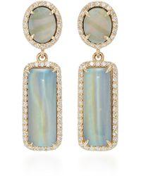 Sheryl Lowe 14k Gold, Diamond And Opal Earrings - Metallic