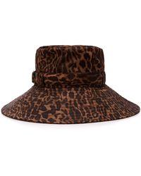 Eric Javits Kaya Leopard-print Shell Bucket Hat - Brown