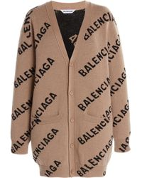 Balenciaga Logo Intarsia Wool-blend Cardigan - Natural