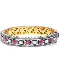 Sanjay Kasliwal - 14k Gold, Silver, Ruby And Diamond Bracelet - Lyst