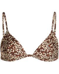 Matteau Petite Floral Triangle Bikini Top - Brown