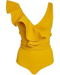 Johanna Ortiz Fanciful Asymmetric Ruffled Swimsuit - Yellow