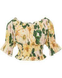 Dolce & Gabbana Camellia-print Cotton Off-the-shoulder Crop Top - Yellow