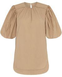 Aje. Vellum Puff-sleeve Cotton-blend Poplin Top - Natural