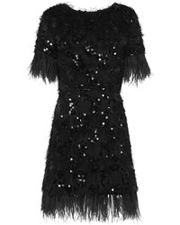 Macgraw Nocturnal Sequined And Feather-trim Dress - Black