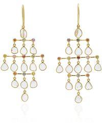 Amrapali Polki 18k Gold, Diamond And Sapphire Earrings - Metallic
