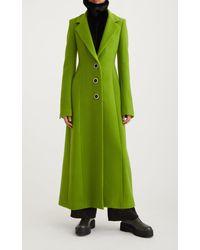 Marina Moscone Structured Virgin Wool Coat Dress - Green