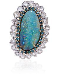Pamela Huizenga | Australian Black Opal, Alexandrite And Diamond Ring | Lyst