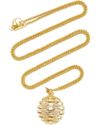 "Monica Rich Kosann - 18k Yellow Gold Mercury ""creativity"" Charm Necklace On 22"" Wheat Chain - Lyst"