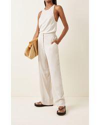 Bondi Born Eden Satin Straight-leg Pants - White