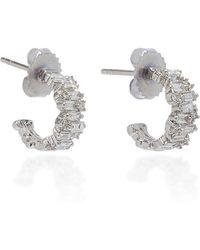 Suzanne Kalan - 18k White Gold Diamond Hoop Earrings - Lyst