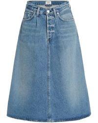 Citizens of Humanity Cecilia Pleated Denim Midi Circle Skirt - Blue