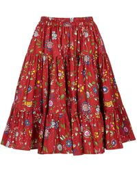 LaDoubleJ Love Tiered Ruffle Cotton Skirt