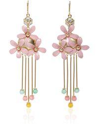 Elie Saab - Pink Blossom Flower Earrings - Lyst