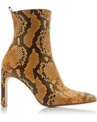 Miista Marcelle Snake-effect Leather Boots - Yellow