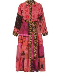 Rianna + Nina Exclusive One Of A Kind Leopard Trim Volant Shirt Dress - Red