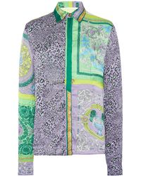 Versace Fitted Mosaic-print Crepe Shirt - Multicolour