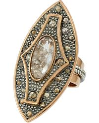 Moritz Glik 18k Rose Gold, Blackened Silver, Diamond And Sapphire Ring