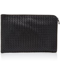 Bottega Veneta Intrecciato Leather Portfolio - Black