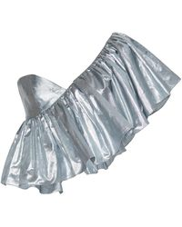 Rasario - Exclusive Ruffled One-shoulder Metallic Silk Top - Lyst