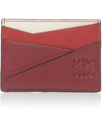 Loewe Puzzle Leather Cardholder - Red