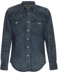 RRL Buffalo Western Cotton-chambray Shirt - Blue