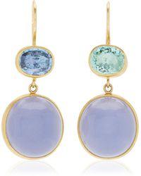Mallary Marks Bon-bon 22k Yellow Gold Tourmaline, Chalcedony Earrings - Blue
