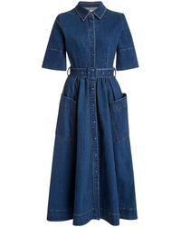 Co. Belted Denim Midi Dress - Blue