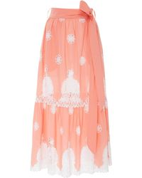 Miguelina Georgia Lace-paneled Cotton Maxi Skirt - Pink