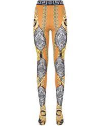 Versace Greca Border Printed Tights - Orange