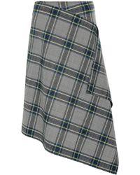 Cedric Charlier Plaid Asymmetric Tweed Skirt - Grey