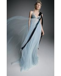 Vera Wang Athenais Tulle Empire Waisted Gown With Jeweled Bust - Blue