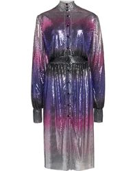Paco Rabanne Ombre Metallic Mesh Knee-length Dress