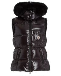 Moncler Balabio Fur-trimmed Down Puffer Vest - Black