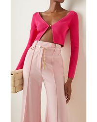 Versace Cropped Ribbed-knit Cardigan - Pink