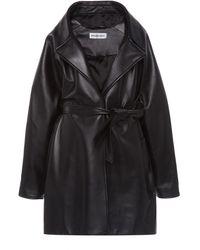Balenciaga Oversized Leather Wrap Jacket - Black