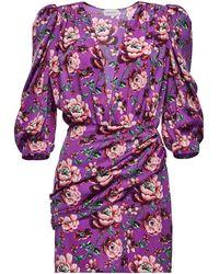 Magda Butrym Faro Ruched Floral-print Silk-satin Mini Dress - Purple